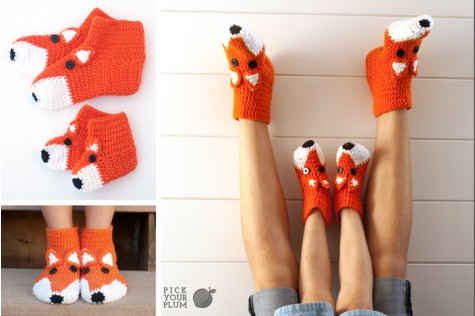 crohet fox socks Cute Crochet Fox Socks for Big & Little Feet for $9.99!