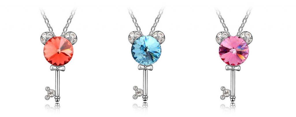 disney pendant key swarovski elements crystal necklace 1024x405 Disney Crystal Key Pendant Chain Necklace $13.99 + Free Shipping *3 Colors*