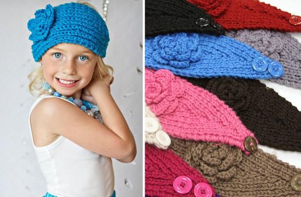 flower knit headwraps