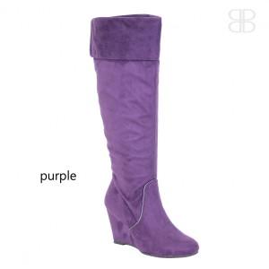 purple wedge boots