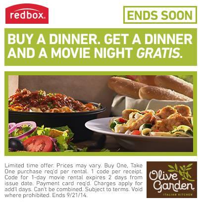 redbox olive garden deal