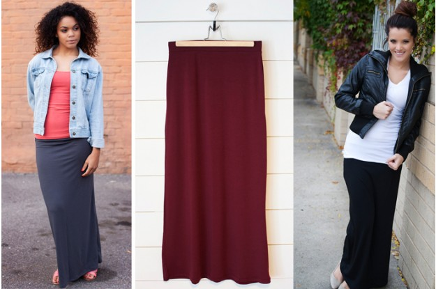 solid maxi skirts pick your plum Crew Neck Tees for $4.99! Solid Maxi Skirts for $9.99!