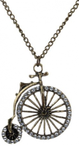 vintage bicycle necklace 162x300  Antique Bicycle Inlay Pendant Necklace 33 $3.18 Shipped!