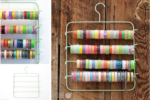 washi tape and ribbon hanger