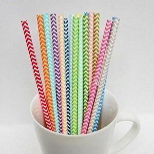 25pcs Chevron Paper Drinking Straws