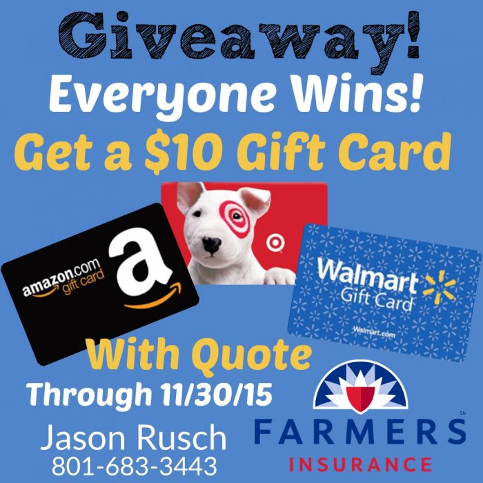 Giveaway: Everyone Wins A $10 Gift Card With Quote! *Utah
