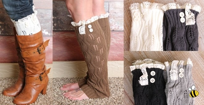 Lace Trimmed Knit Leg Warmers