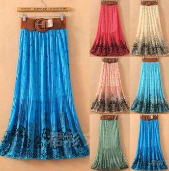 Long Chiffon Maxi Skirt