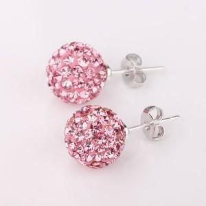 Pink Shamballa Crystal Studs