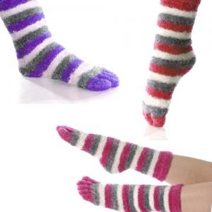 Women's Fuzzy Stripe Yarn Toe Socks