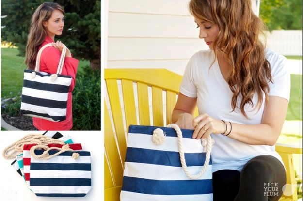 canvas stripe bag with rope handle