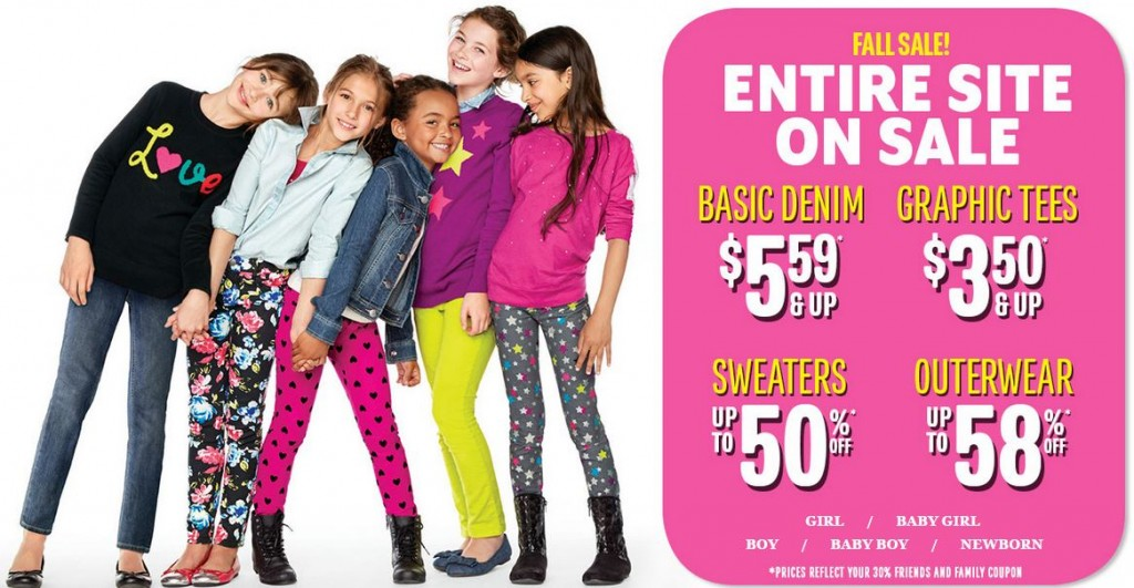 childrens place friends and family 1024x531 *SUPER HOT* HUGE Sale at The Childrens Place! Basic Denim for $5.59! Graphic Tees for $3.50! Sweaters & Outerwear Up to 58% Off! FREE Shipping!