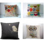 owl linen pillows
