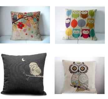 owl linen pillows Linen Throw Pillows with Owl Designs Starting at $4.59