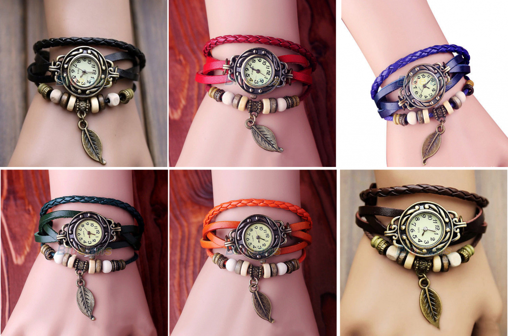 retro leather bracelet watch 1024x678 *HOT* Leather Wrap Bracelet Watch for $1.93 Shipped! *6 Colors, 2 Styles*