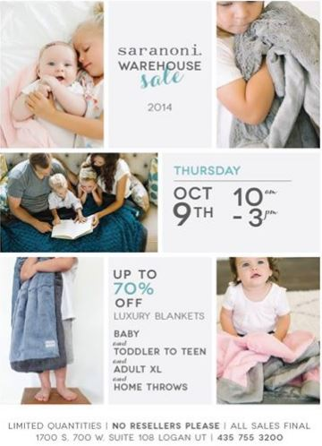 saranoni warehouse sale Saranoni Warehouse Sale in Logan on October 9!
