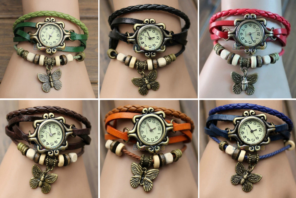 wrap bracelets butterfly 1024x684 *HOT* Leather Wrap Bracelet Watch for $1.93 Shipped! *6 Colors, 2 Styles*