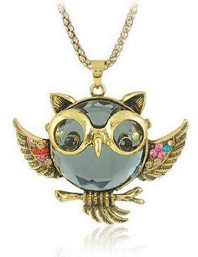 Crystal Vintage Owl Pendants Necklace