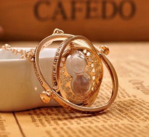 Harry Potter Time Turner Hermione Rotating Spins Hourglass Necklace & Earring