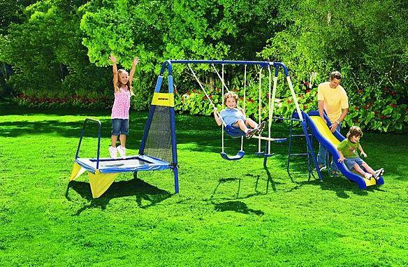 Sportspower Jump 'N Swing Metal Backyard Swing Set