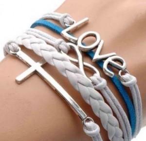 Vintage Silver Infinite Bracelet Love White Blue Leather Rope Cross Infinity