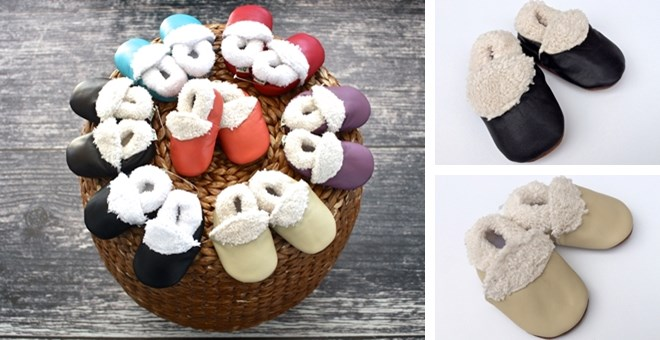 fur lined leather baby booties