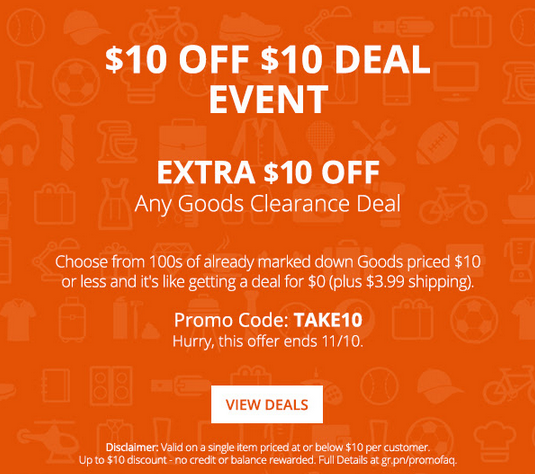 groupon $10 off $10 clearance event