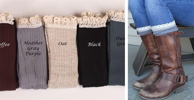 lace trim knee high boot socks