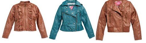 leather girls coats