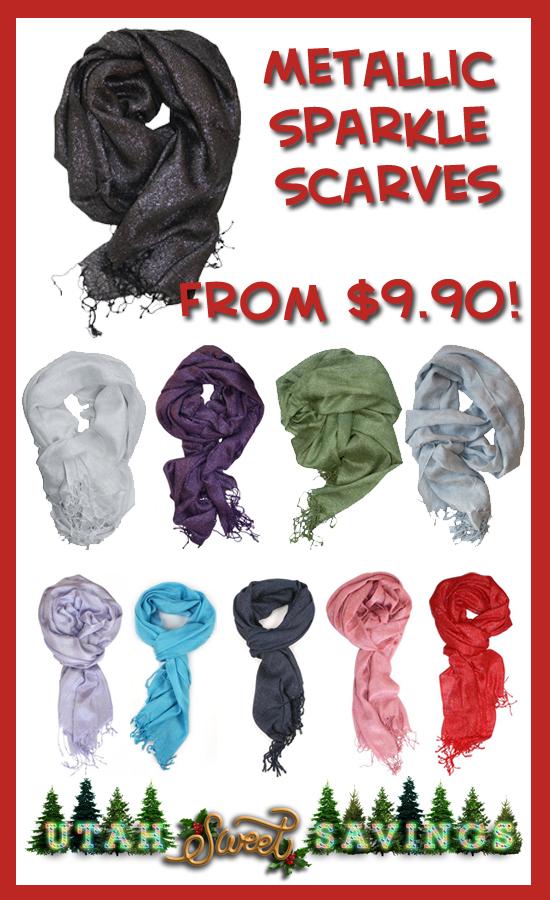 metallic sparkle scarves