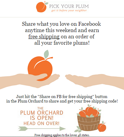 pick your plum free shipping weekend