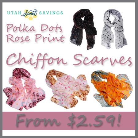 polka dots rose print chiffon scarves