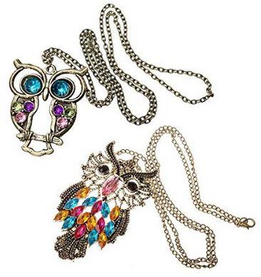 set of 2 vintage owl necklaces