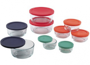 Pyrex 18 pc Glass Food Storage with Multi-colored Lids