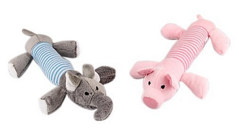 2 Dog Pet Puppy Chew Squeaker Squeaky Plush Sound Pig Toys