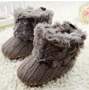 Baby Girls Knit Soft Fur Winter Warm Snow Boots Crib Shoes