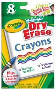 Crayola Large Dry Erase Crayons, 8 count
