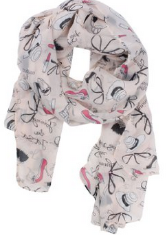 Pink Fashion Bowknot High heel Shoes Lipsticks Multi Print Long Chiffon Muffler Scarf