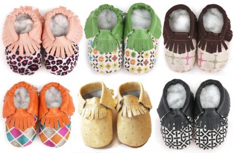 Soft Sole Fringe Leather Baby Shoes with prints