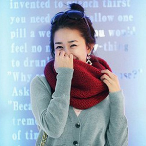 Warm Infinity Knit Wool Blend Scarves