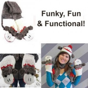 World Famous Sock Monkey Scarf with Built-In Mittens