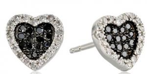 black diamon heart earings