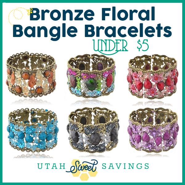 bronze floral bangle bracelets