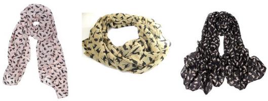 cat print chiffon scarf