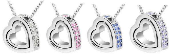 double heart crystal rhinestone necklace