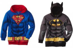 superman and batman puffed hoodies