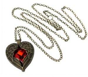 vintage red heart necklace