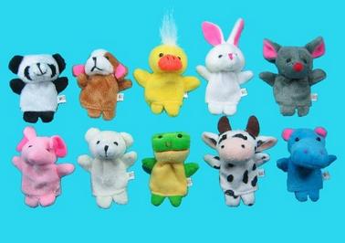 10 soft animal finger puppets