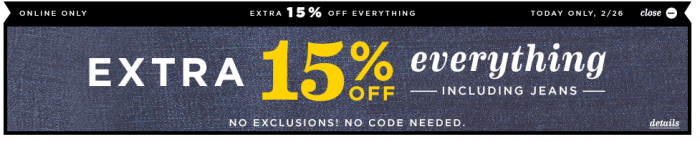 15 off old navy