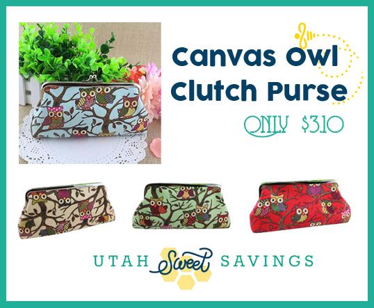 Canvas Owl Clutch Purse